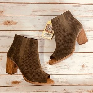 Toms Peep Toe Ankle Suede Boot Heels Perforated